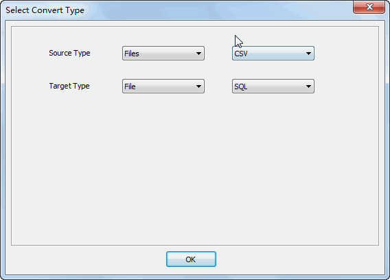Merge multiple Csv files into one Sql file - select type