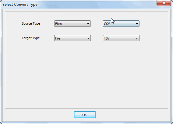 Merge multiple Csv files into one Tsv file - select type