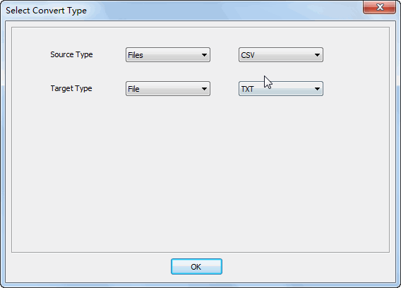 Merge multiple Csv files into one Txt file - select type