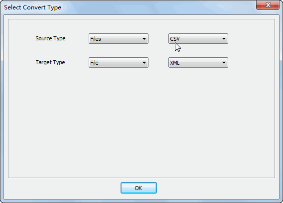 Merge multiple Csv files into one Xml file - select type