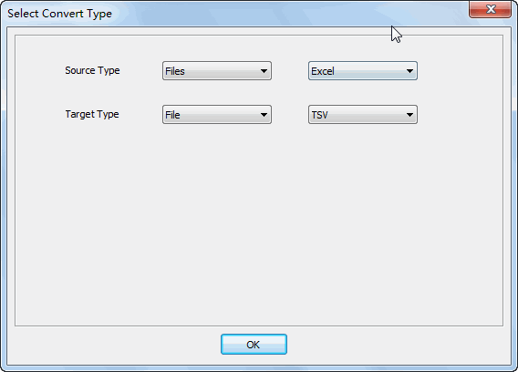 Merge multiple Excel files into one Tsv file - select type