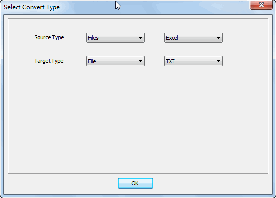 Merge multiple Excel files into one Txt file - select type