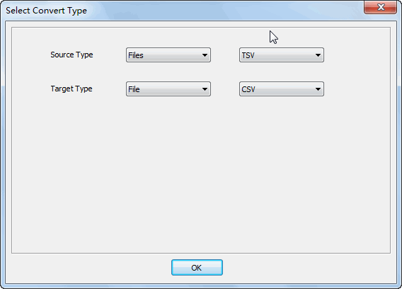 Merge multiple Tsv files into one Csv file - select type