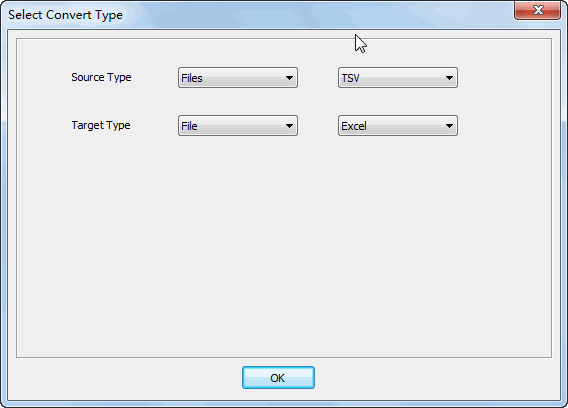 Merge multiple Tsv files into one Excel file - select type