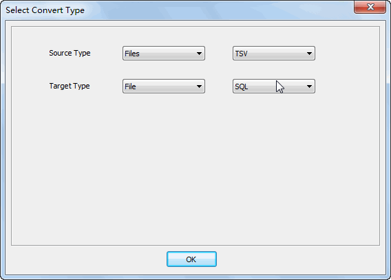 Merge multiple Tsv files into one Sql file - select type