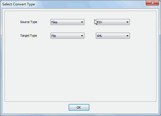 Merge multiple Tsv files into one Xml file - select type
