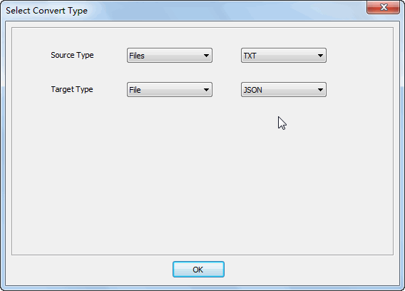 Merge multiple Txt files into one Json file - select type