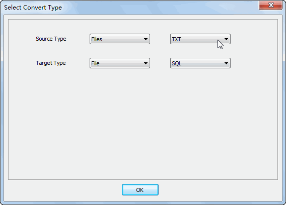 Merge multiple Txt files into one Sql file - select type
