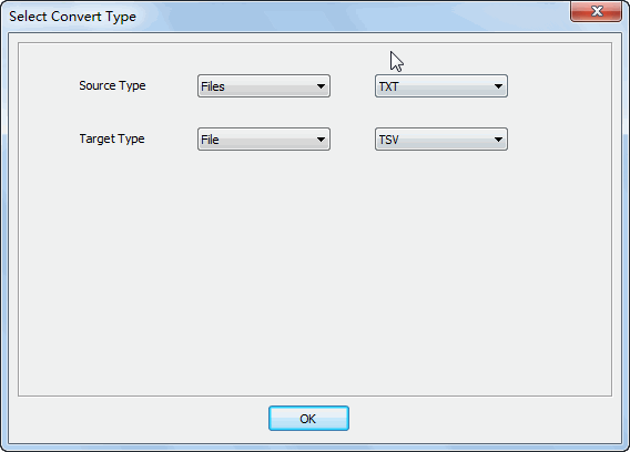 Merge multiple Txt files into one Tsv file - select type