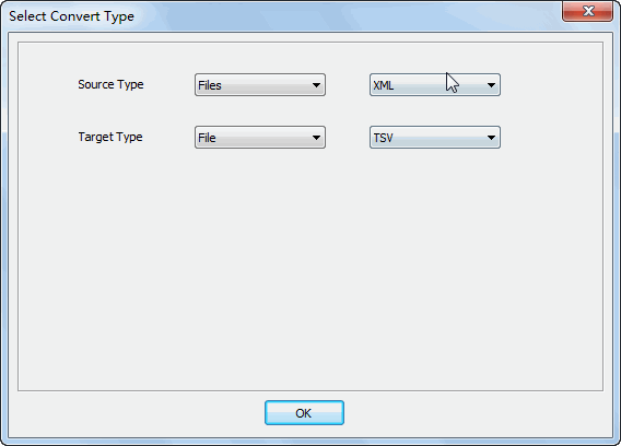 Merge multiple Xml files into one Tsv file - select type