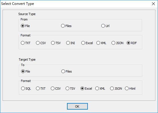 convert XML format RDF file to Excel file - select type