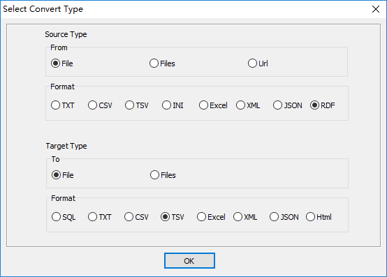 convert XML format RDF file to Tsv file - select type