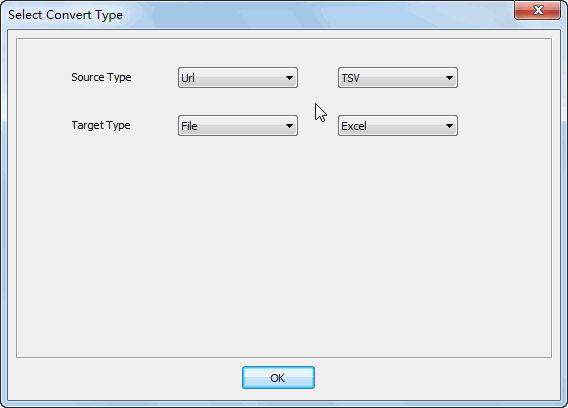 convert online TSV file to EXCEL file - select type