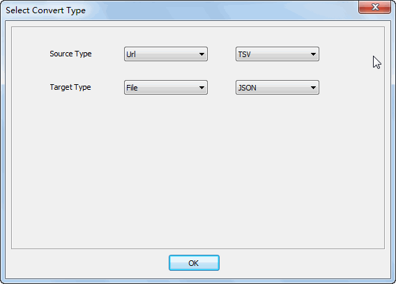convert online TSV file to JSON file - select type