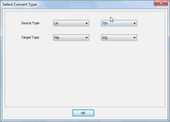 convert online TSV file to SQL file - select type
