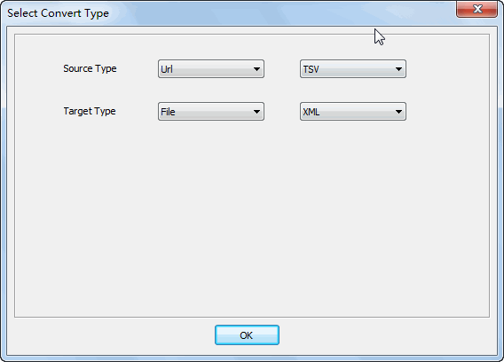 convert online TSV file to XML file - select type