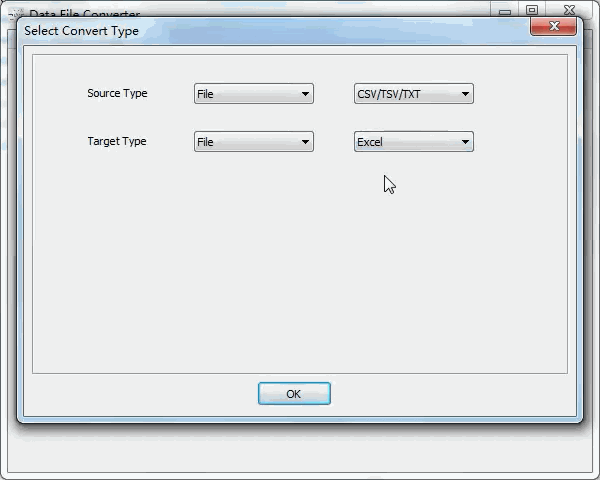 convert Txt file to Excel file - select type