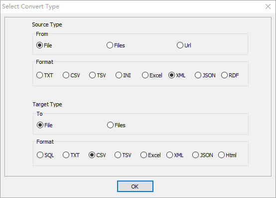 convert RDF file to Csv file - select type