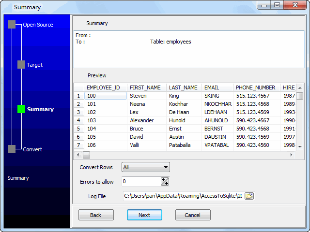 Migrage data from multiple similar Oracle tables to 1 Access table - preview