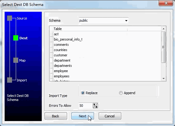 Migrate from DBF  to Oracle  - select destination schema