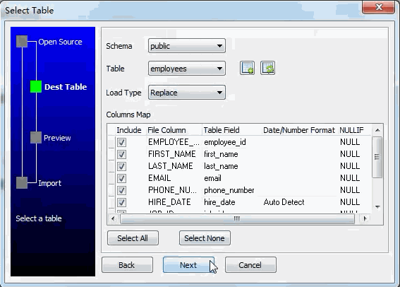 Extract SQL Server query results data to PostgreSQL table - select table