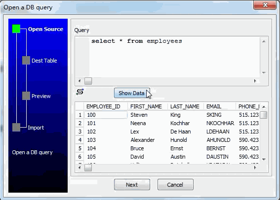 Convert data from DBF  query results to Oracle  table - open query results