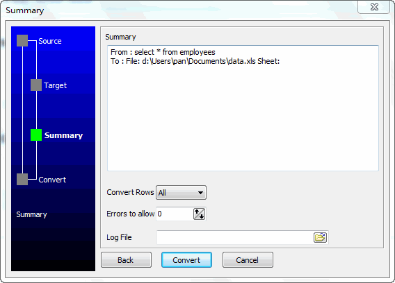 Convert data from Dbf (dBase, FoxBase, FoxPro) Query Results To Excel File - summary