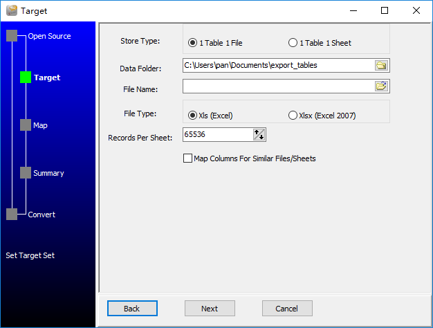 Extract data from Dbf (dBase, FoxBase, FoxPro) Tables To Excel Files - enter data folder