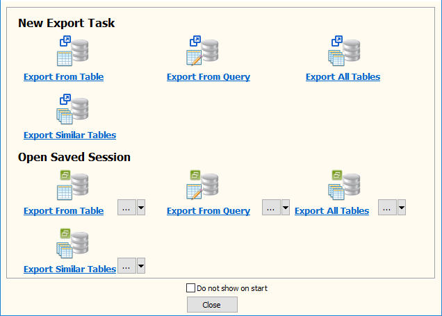 Export data from PostgreSQL  Tables To 1 Excel File - task window