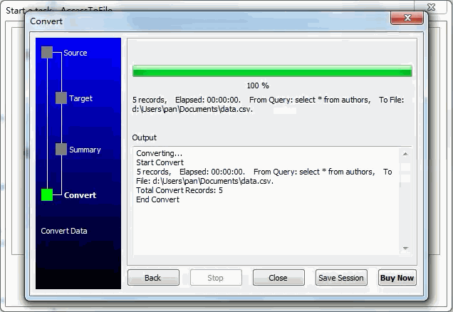 Dump data from Access SQL Query To Csv File - export