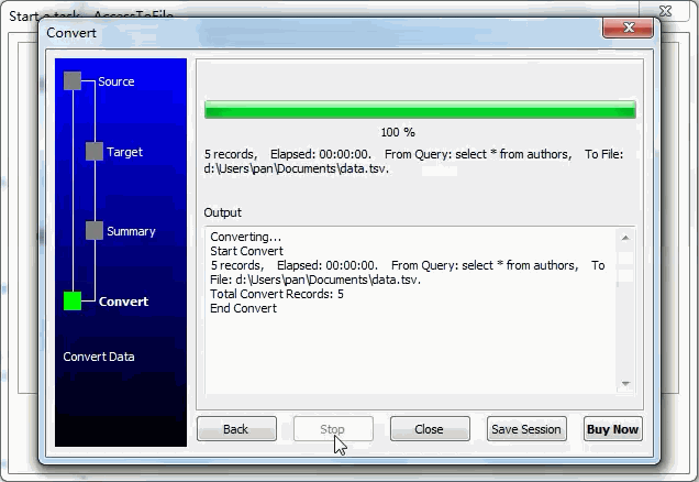 Dump data from Access SQL Query To Tsv File - export