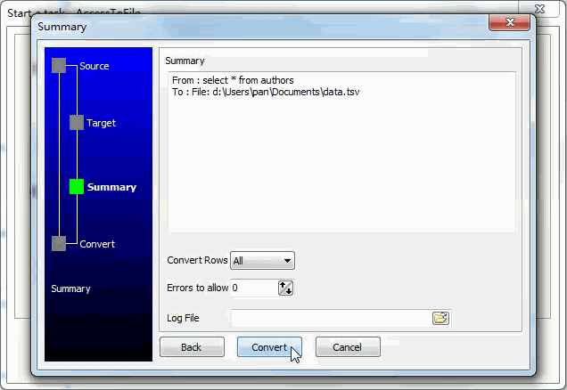 Convert data from Access Query ResultSet To Tsv File - summary