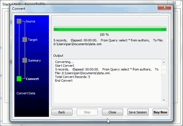 Dump data from Access SQL Query To Xml File - export