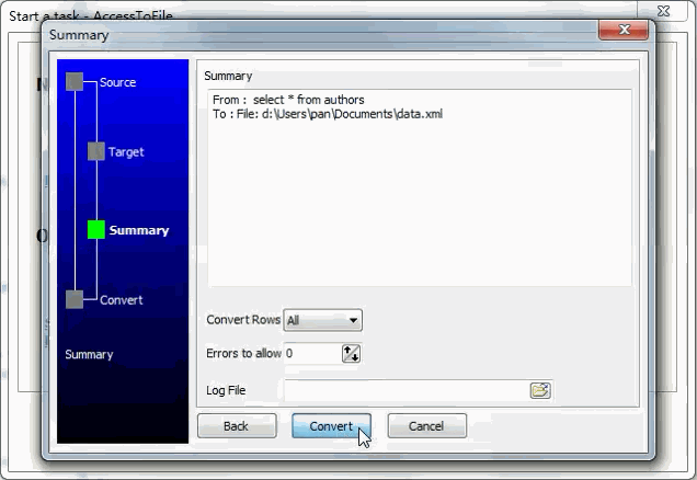 Convert data from Access Query ResultSet To Xml File - summary