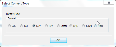 Export data from Oracle Table To Csv File - select Csv file type