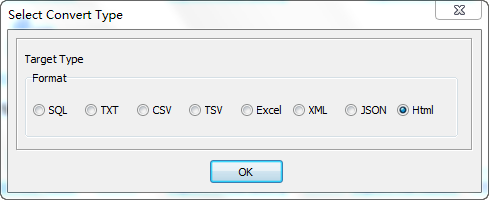 Export Query Results from Oracle Table To Html File - select Html file type