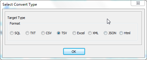 Export data from Similar Oracle Tables To 1 Tsv File - select Tsv file type