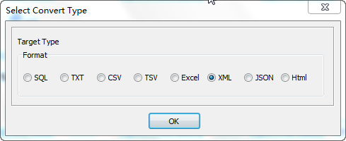 Export data from Dbf (dBase, FoxBase, FoxPro) Tables To Xml Files - select Xml file type