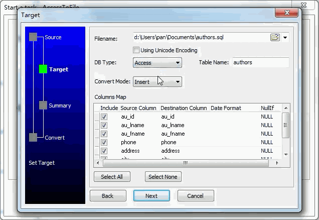Extract data from Dbf (dBase, FoxBase, FoxPro) Table To Sql File - enter file name