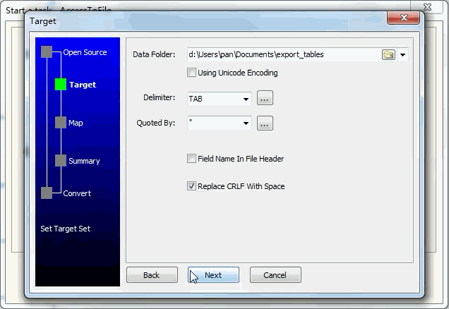 Extract data from Oracle Tables To Tsv Files - enter data folder