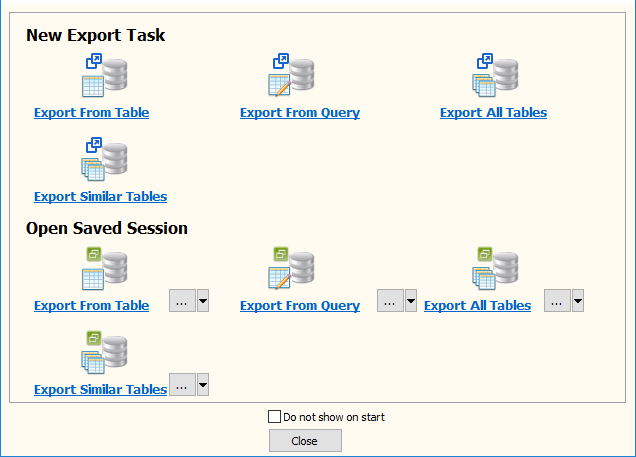 Export data from Similar MySQL Tables To 1 Tsv File - task window