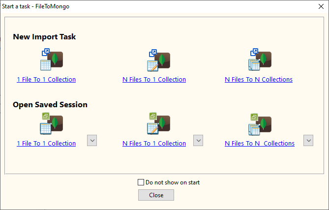 Import Tsv file data To MongoDB collection - task window