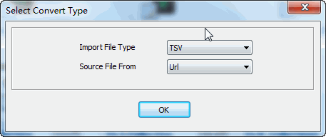 convert online TSV file to MongoDB collection - select type