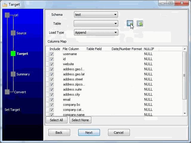 import JSON from open RESTful API to  MySQL database - config  MySQL table