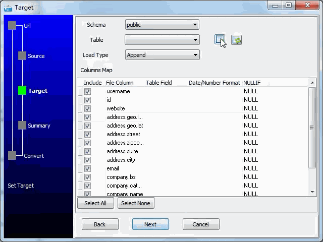 import JSON from open RESTful API to  PostgreSQL database - config  PostgreSQL table