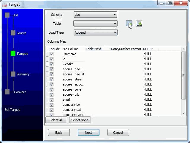 import JSON from open RESTful API to  SQL Server database - config  SQL Server table