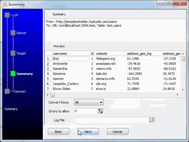 import JSON from open RESTful API to  MySQL database - summary