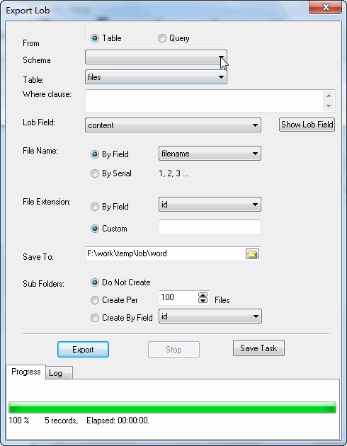 Batch save DB2 BLOB to word files - export