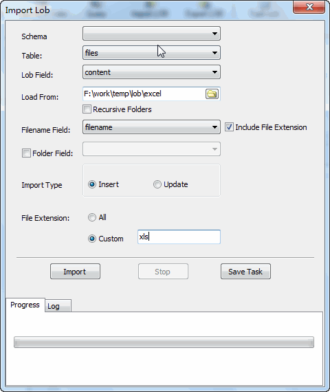 Batch insert excel files into SQLite BLOB - config