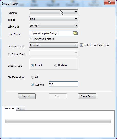 Batch insert image files into PostgreSQL BYTEA (BLOB) - config